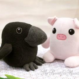 Cute Raven & Piglet Couple Plushies