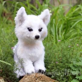 Life-size White Wolf Pup Plushie